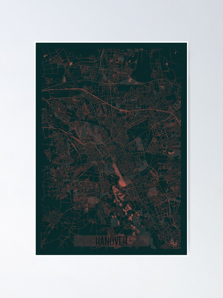 Alternate view of Hanover Map Red Poster