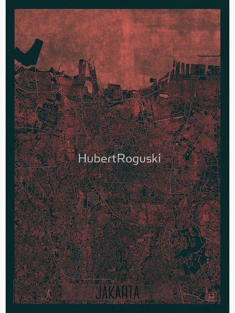 Jakarta Map Red by HubertRoguski