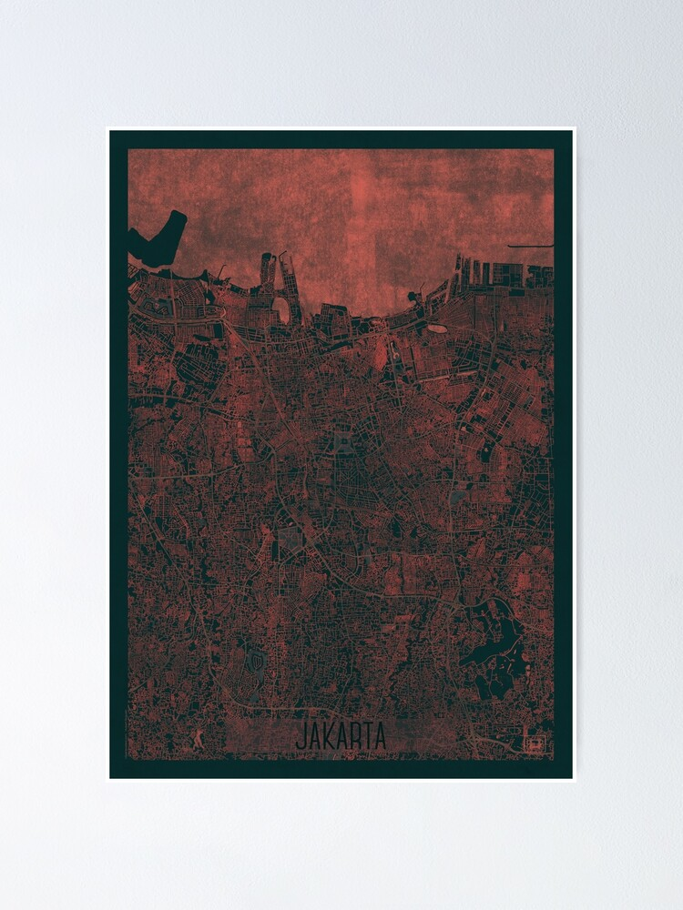 Alternate view of Jakarta Map Red Poster