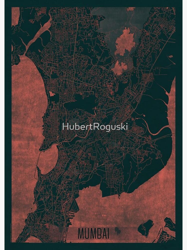 Mumbai Map Red by HubertRoguski