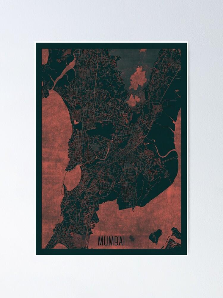 Alternate view of Mumbai Map Red Poster
