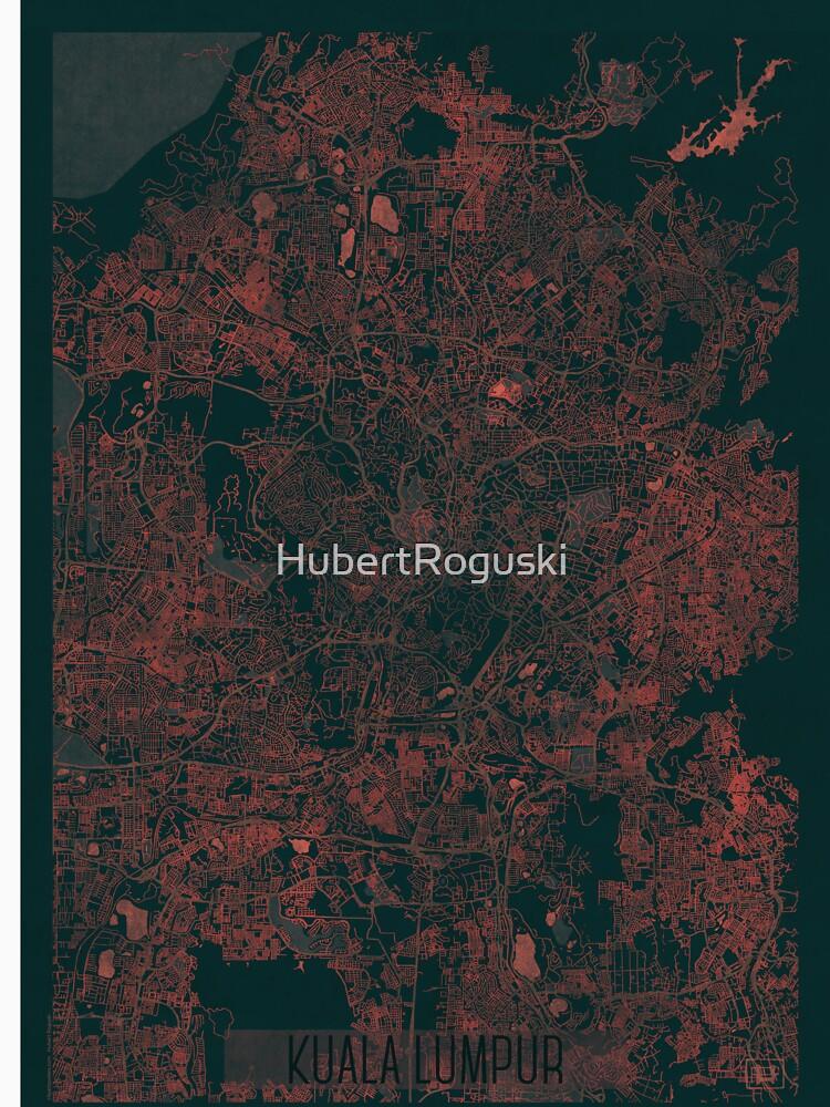 Kuala Lumpur Map Red by HubertRoguski