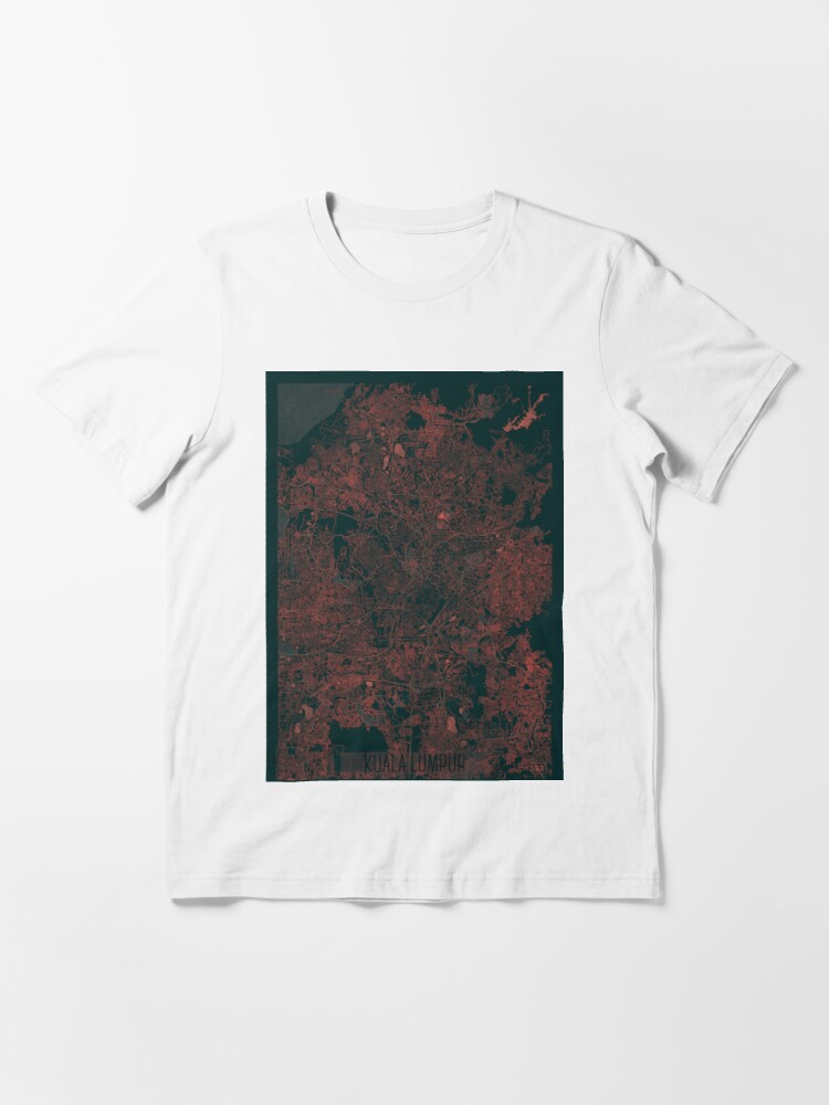 Alternate view of Kuala Lumpur Map Red Essential T-Shirt