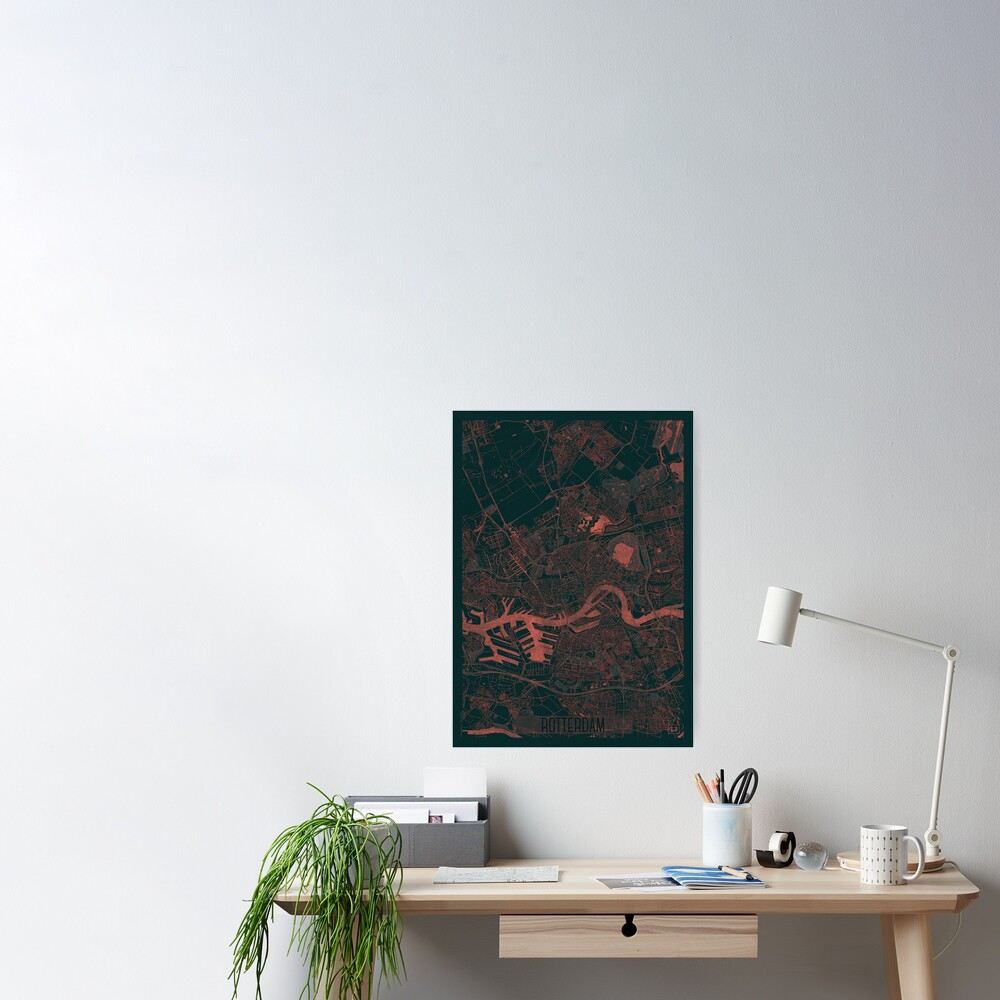 Rotterdam Map Red Poster