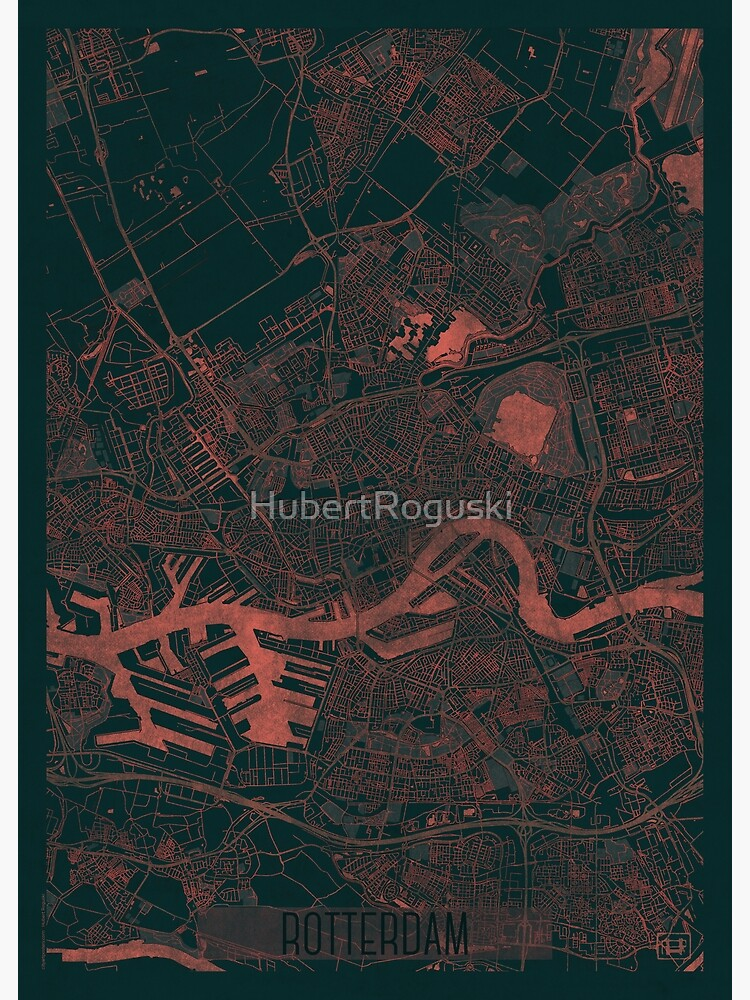 Rotterdam Map Red by HubertRoguski