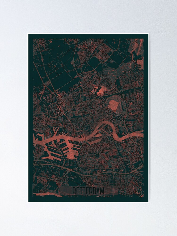 Alternate view of Rotterdam Map Red Poster