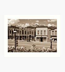 Main Street - Breckenridge Colorado Skyline in Sepia Art Print