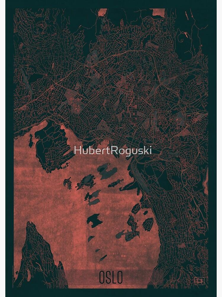 Oslo Map Red by HubertRoguski