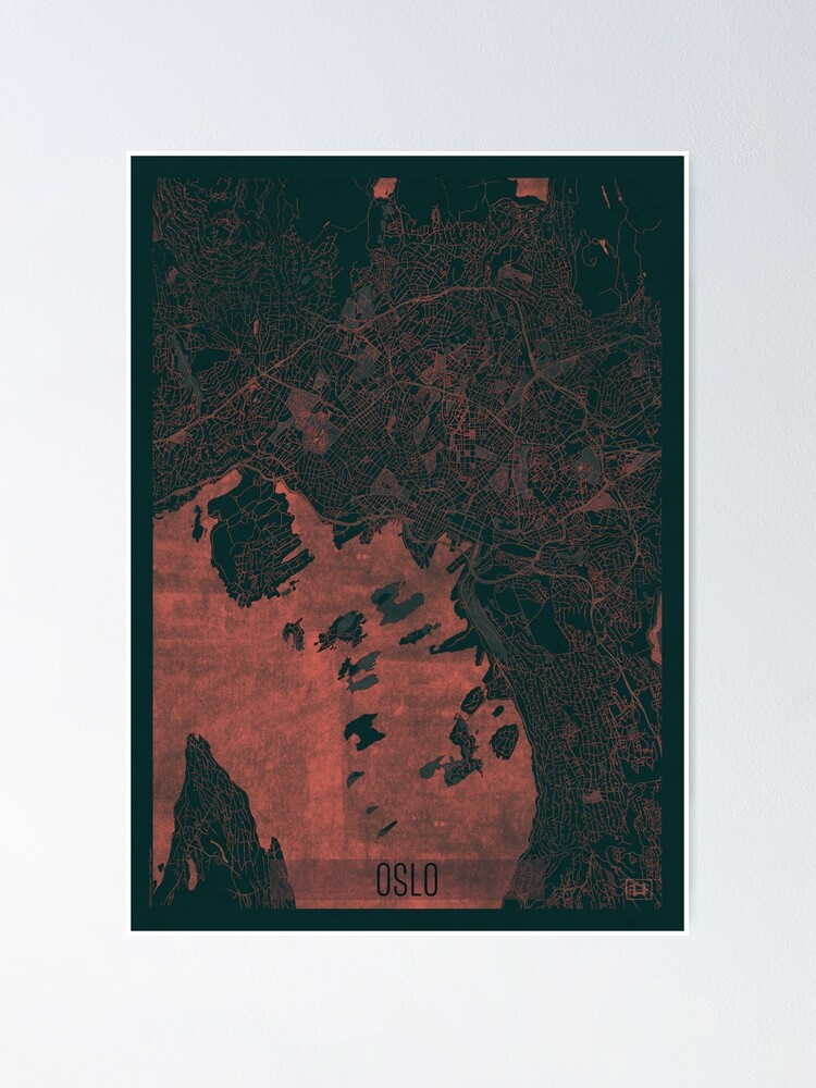 Alternate view of Oslo Map Red Poster