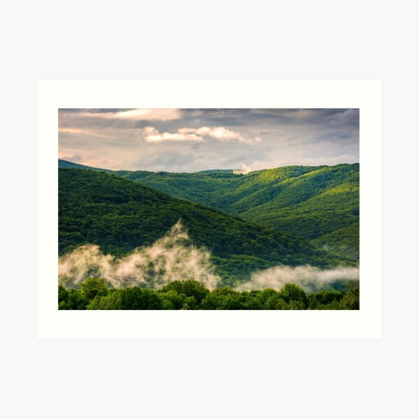 foggy mountain ridge over the forest in springtime Art Print