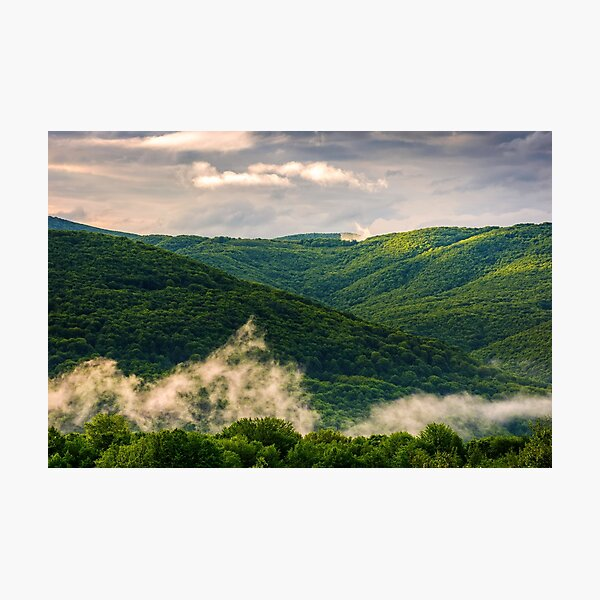 foggy mountain ridge over the forest in springtime Photographic Print