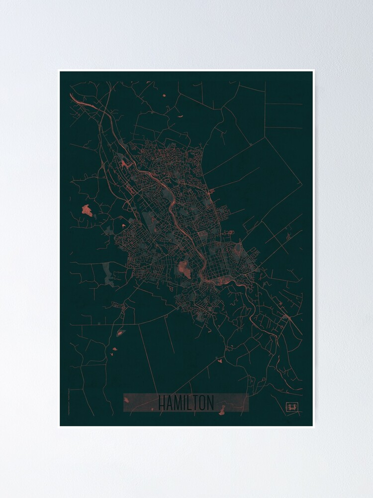 Alternate view of Hamilton Map Red Poster