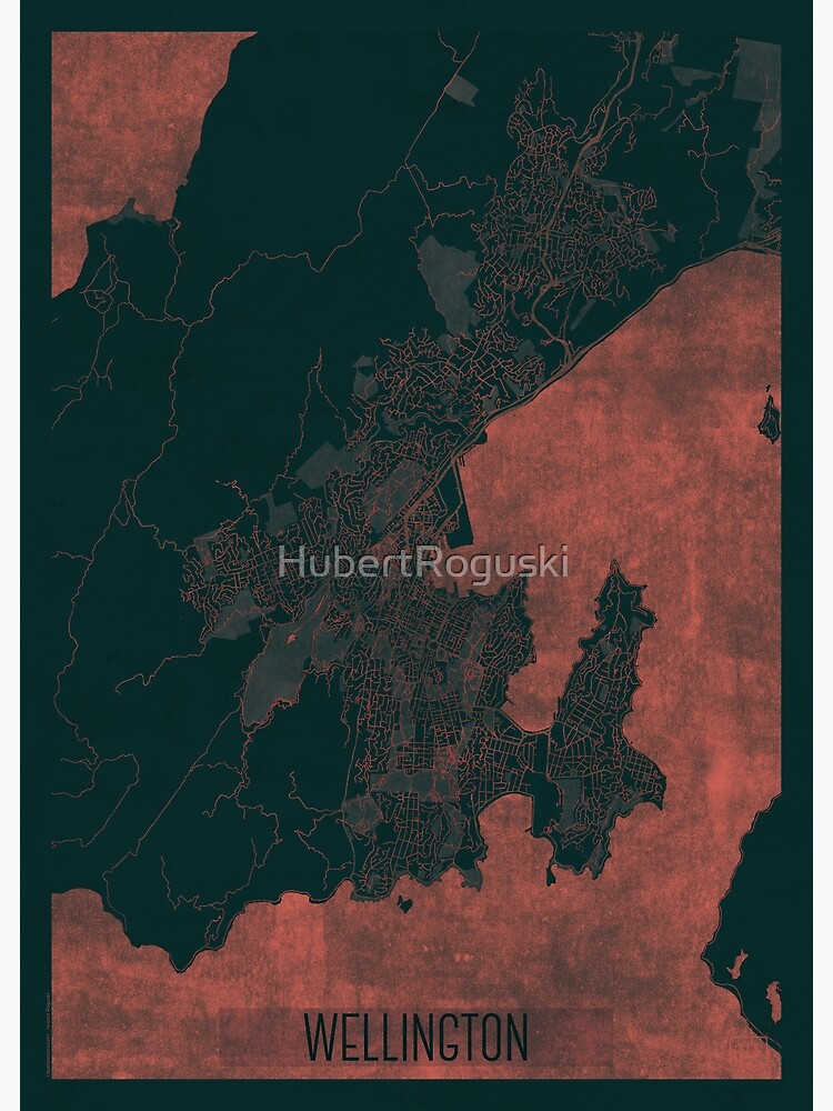 Wellington Map Red by HubertRoguski