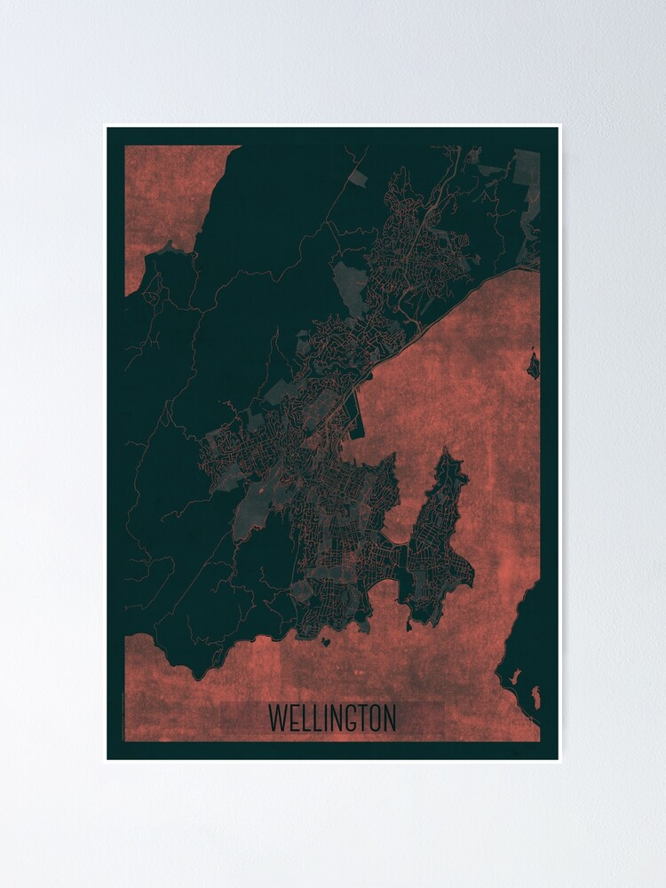 Alternate view of Wellington Map Red Poster