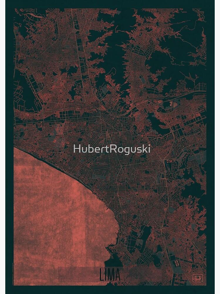 Lima Map Red by HubertRoguski