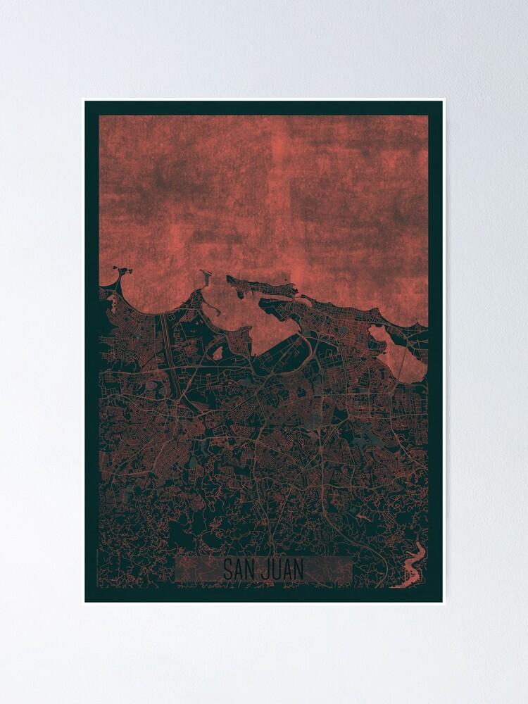 Alternate view of San Juan Map Red Poster