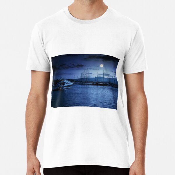 yacht at the pier  at night Premium T-Shirt