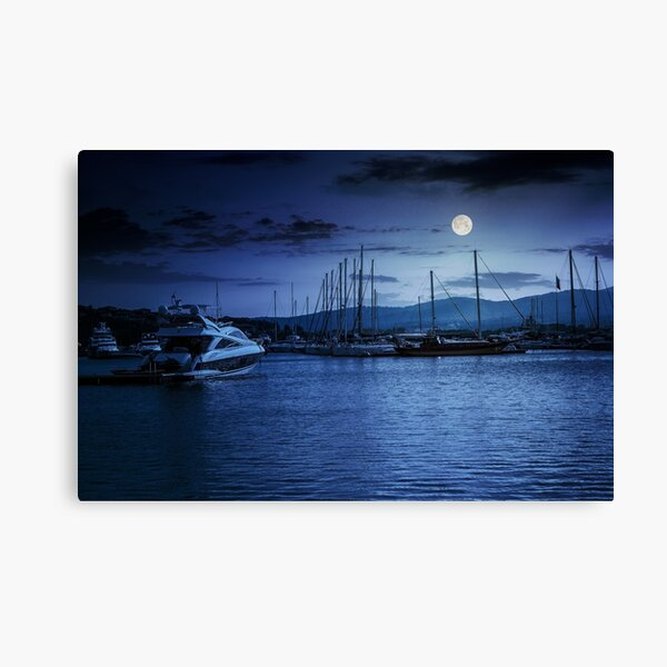 yacht at the pier  at night Canvas Print