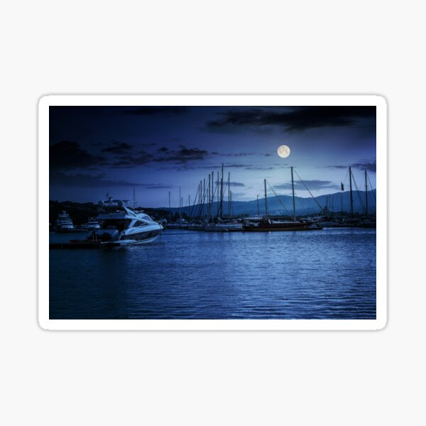 yacht at the pier  at night Sticker