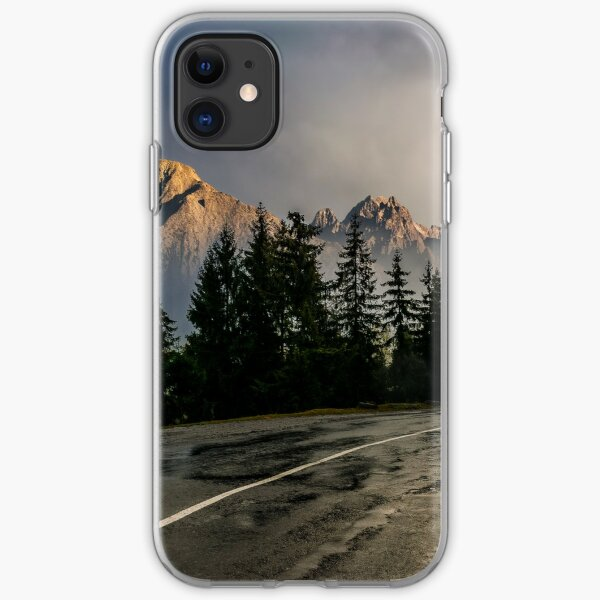 road to High Tatra Mountain Ridge in stormy weather iPhone Soft Case