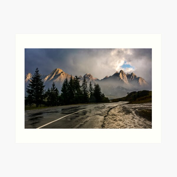 road to High Tatra Mountain Ridge in stormy weather Art Print