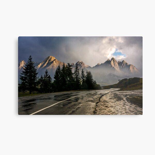 road to High Tatra Mountain Ridge in stormy weather Metal Print