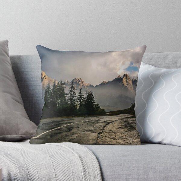 road to High Tatra Mountain Ridge in stormy weather Throw Pillow