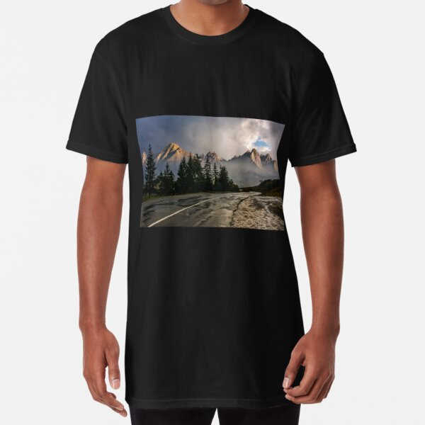 road to High Tatra Mountain Ridge in stormy weather Long T-Shirt