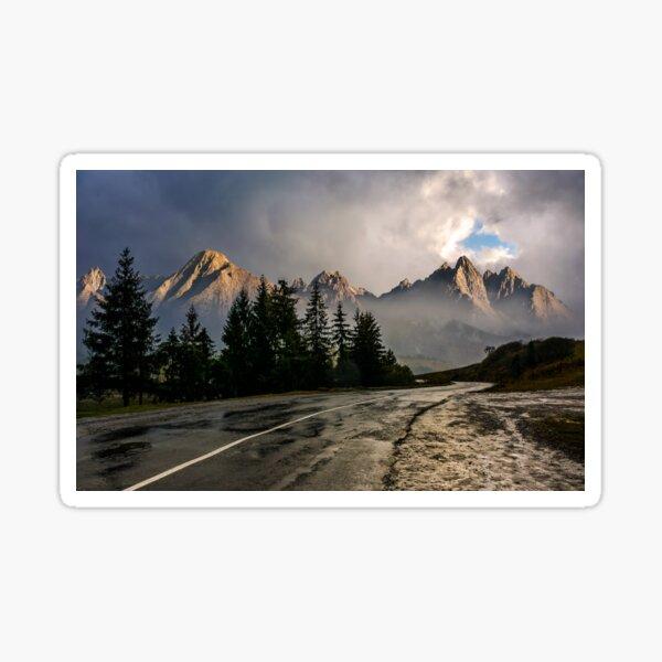 road to High Tatra Mountain Ridge in stormy weather Sticker