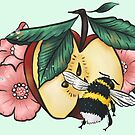 Dew speckled apple blossoms attract bumblebee by Wieskunde
