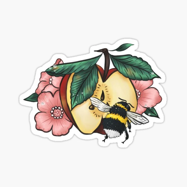 Dew speckled apple blossoms attract bumblebee Sticker