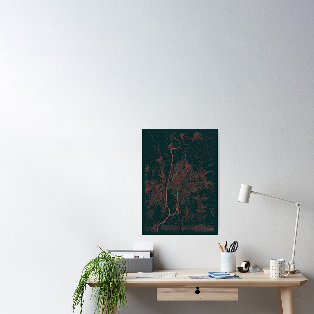 Seville Map Red Poster