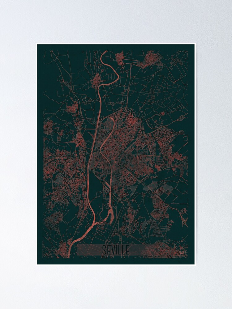 Alternate view of Seville Map Red Poster