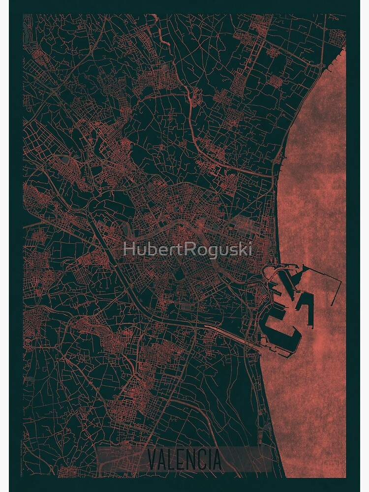 Valencia Map Red by HubertRoguski