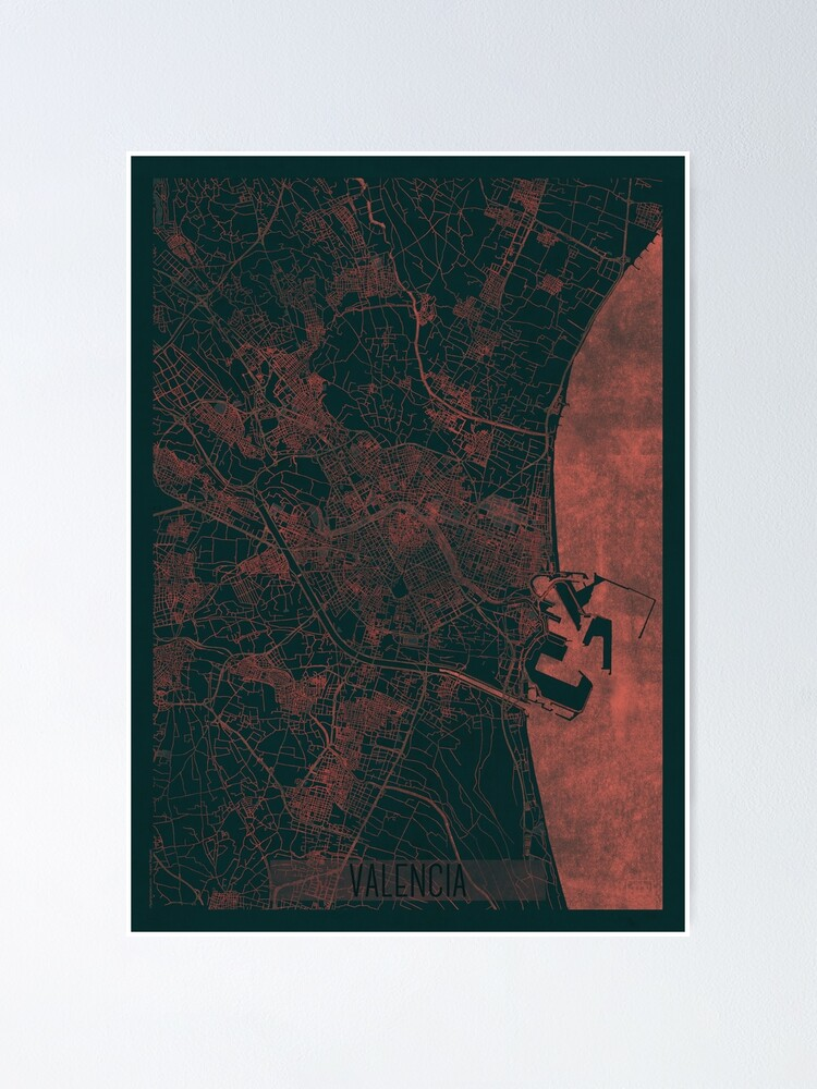 Alternate view of Valencia Map Red Poster