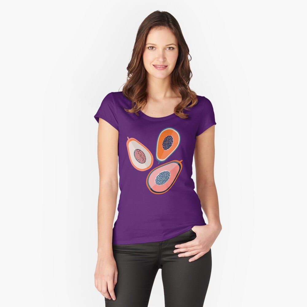 Papayas Tailliertes Rundhals-Shirt