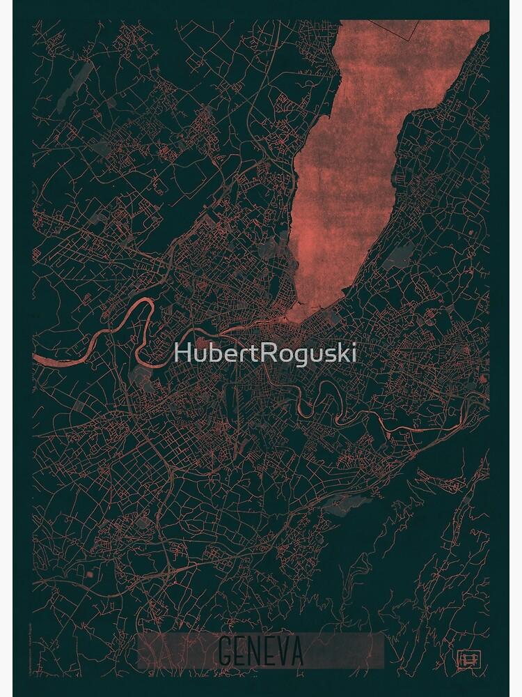 Geneva Map Red by HubertRoguski