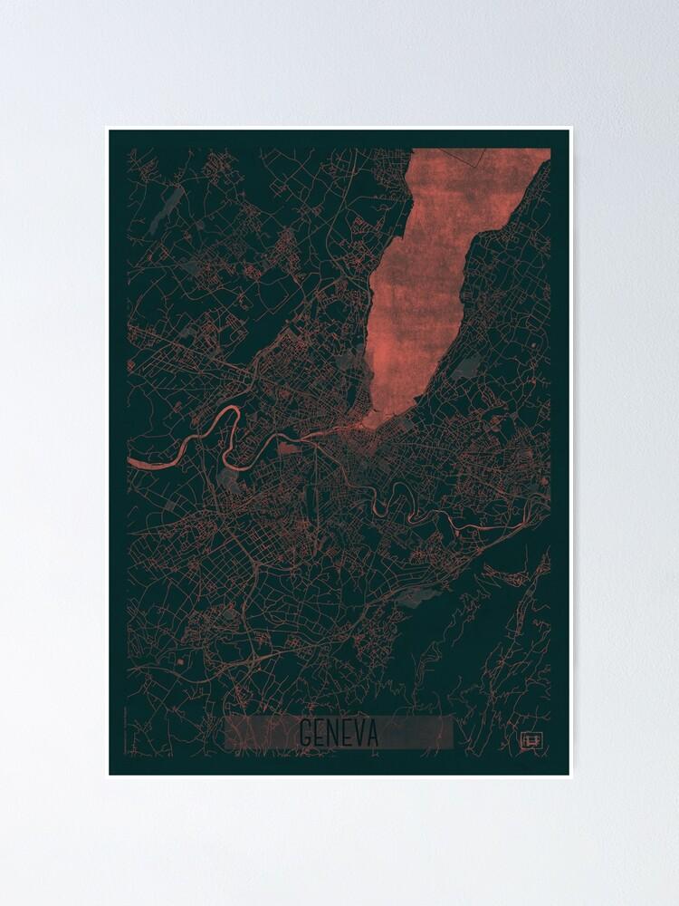 Alternate view of Geneva Map Red Poster
