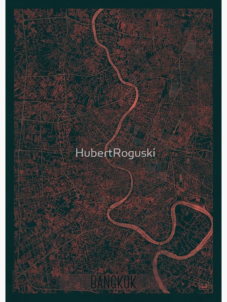 Bangkok Map Red by HubertRoguski
