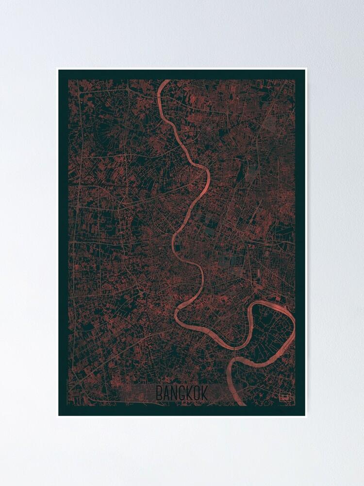 Alternate view of Bangkok Map Red Poster