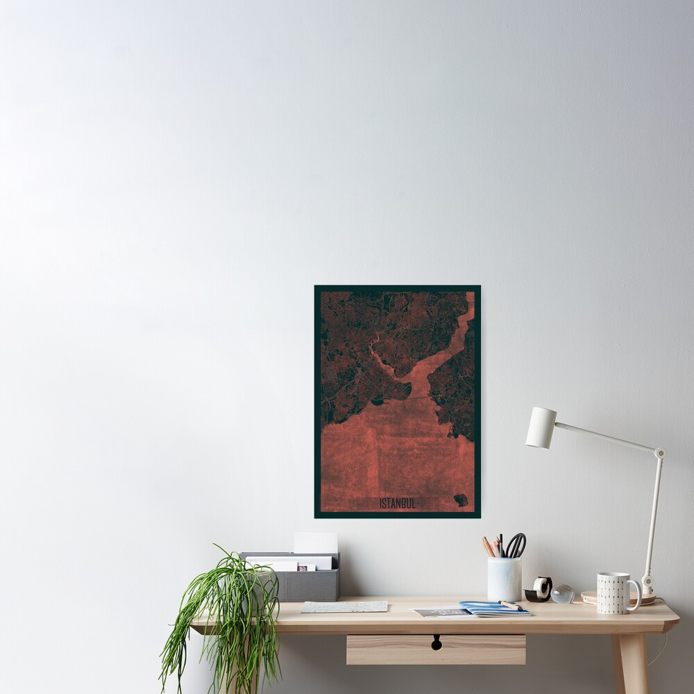 Istanbul Map Red Poster