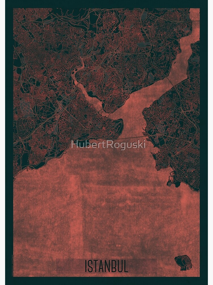 Istanbul Map Red by HubertRoguski