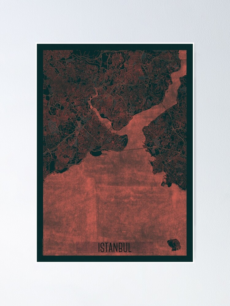 Alternate view of Istanbul Map Red Poster