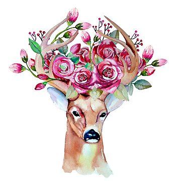 Tímido venado floral acuarela de peggieprints