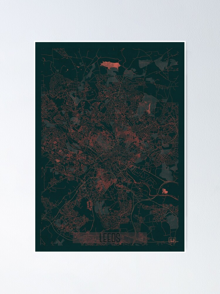 Alternate view of Leeds Map Red Poster