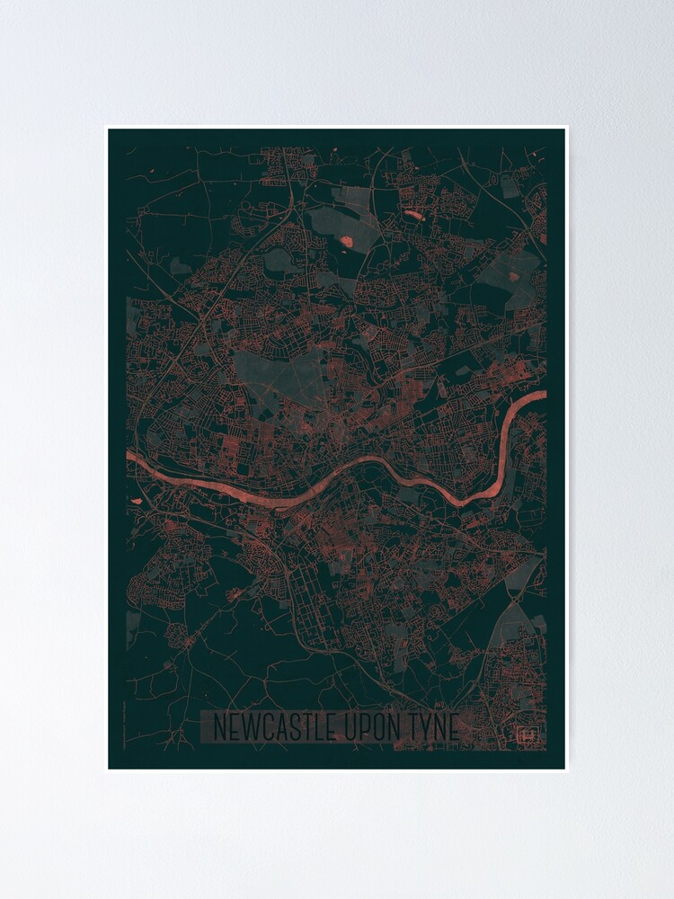 Alternate view of Newcastle upon Tyne Map Red Poster