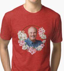 Dr. Phil - Blue Flower Frame Tri-blend T-Shirt