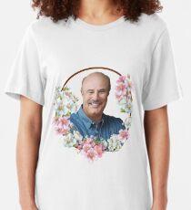 Dr. Phil - Blue Flower Frame Slim Fit T-Shirt