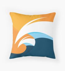 Morning Peaks   Wave Art Throw Pillow