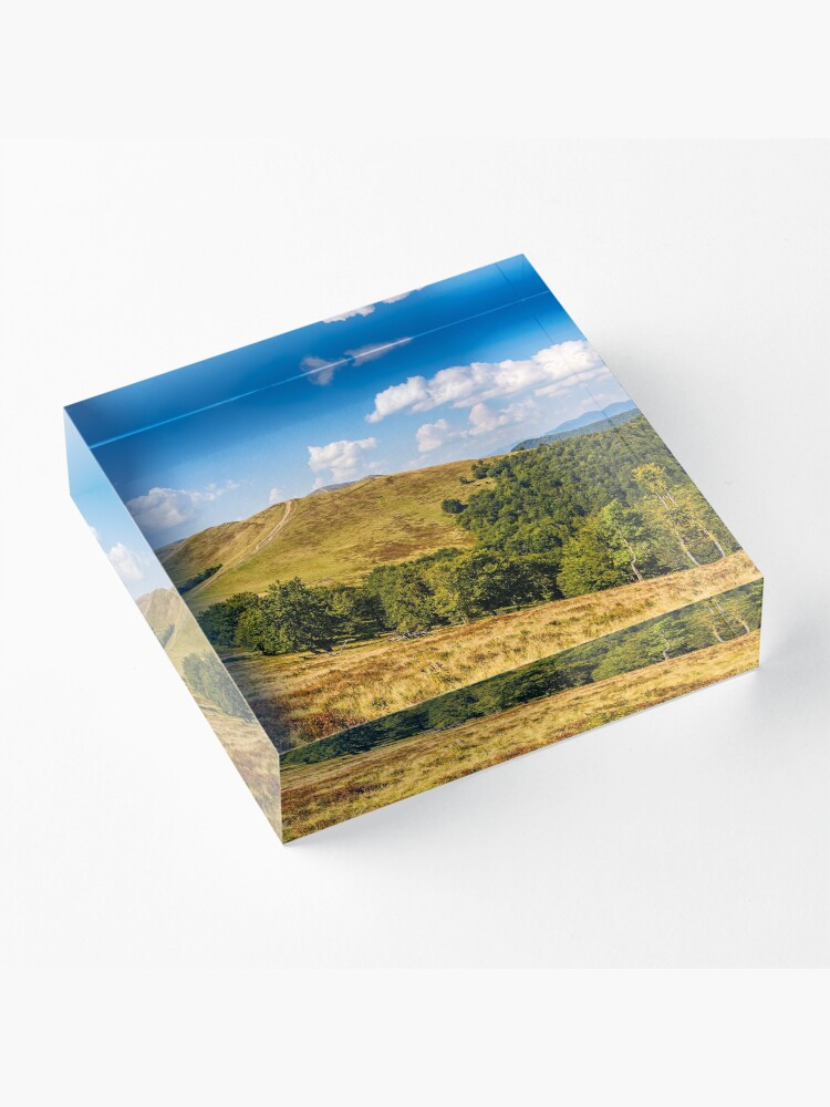 Alternate view of Carpathian Mountain Range in late summer Acrylic Block